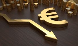 Golden EURO symbol and arrow down. 3D rendered illustration Royalty Free Stock Photography