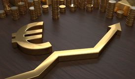 Golden EURO symbol and arrow up. 3D rendered illustration.  Royalty Free Stock Images