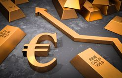 Golden euro symbol and golden arrow up Stock Photography
