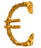 Golden Euro. Symbol assembled with coins. Euro currency stability. Symbol assembled with coins. Isolated on white Royalty Free Stock Images