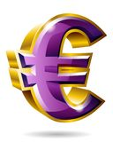 Golden euro symbol in 3D style isolated on white background. Vec. Tor illustration. Ideal for ad, tv commercial, banner, label and any kind of decoration Royalty Free Stock Images