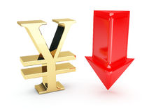 Golden euro symbol and down arrows.  Royalty Free Stock Image