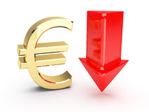 Golden euro symbol and down arrows Stock Photo