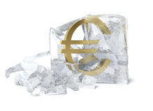 Golden Euro symbol frozen inside an ice cube. Isolated on white background. 3d render Stock Images
