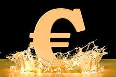 Golden euro symbol with gold splashing, 3D rendering. Golden euro symbol with gold splashing, 3D Stock Image