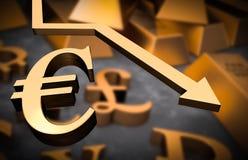 Golden euro symbol and golden arrow down. Euro money fall concept Stock Photos