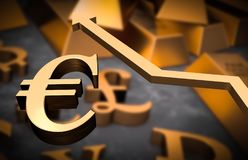 Golden euro symbol and golden arrow up. Euro money rise concept Stock Images