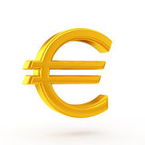 Golden euro symbol. This image is rendered by 3D content creation tools Stock Photo