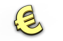 Golden Euro symbol isolated on a white background Stock Photo