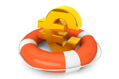 Golden Euro symbol in Life Buoy. Crisis concept. Golden Euro symbol in Life Buoy on a white background Stock Photo