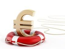 Golden euro symbol on lifebelt. 3D illustration.  Royalty Free Stock Photos