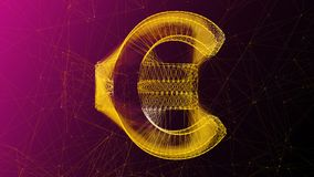 Golden Euro Symbol in Pink Cyberspace. An op art 3d illustration of a shining and golden looking euro sign placed in the center of a violet and pink cyberspace Royalty Free Stock Photography