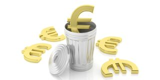 Golden euro symbol and steel trash can on white background. 3d illustration. Golden euro symbol and steel trash bin  on white background. 3d illustration Stock Image