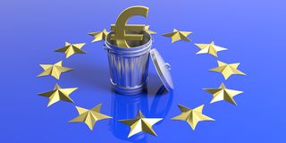 Golden euro symbol and trash can on a EU flag. 3d illustration Stock Photography