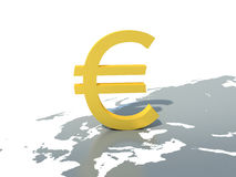 Golden euro symbol on the world map.  Royalty Free Stock Images