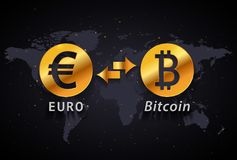 Euro to Bitcoin currency exchange infographic template on world map background. Golden Euro to Bitcoin currency exchange infographic template on world map Royalty Free Stock Image