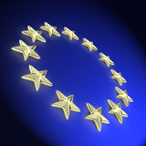 Golden european 3d stars Royalty Free Stock Image