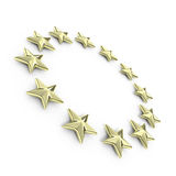 Golden european 3d stars Royalty Free Stock Photo