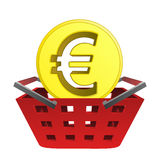 Golden european union coin in red basket vector Royalty Free Stock Photography