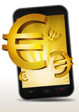 Golden Euros Inside Smartphone Royalty Free Stock Photos