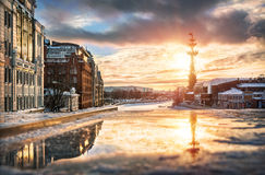 Golden Evening. Golden winter evening near the monument to Peter the Great Stock Image