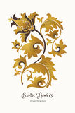 Golden exotic flowers in Chinese style. Fantastic exotic flowers in Chinese style. Luxury ornament. Golden floral illustration. Ornate graphic art. Beautiful Stock Images