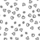 Golden Expensive Jewellery Seamless Pattern Vector. Ring, Diamond And Facet Gemstone Jewellery Monochrome Texture Icons. Engagement, Wedding Or Anniversary vector illustration