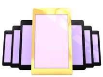 Golden expensive smartphone showcase. An illustration of a showcase of touchscreen smartphones and a golden smartphone on the middle Royalty Free Stock Photo