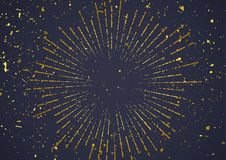 Golden explosion burst in retro style over dark background stock illustration