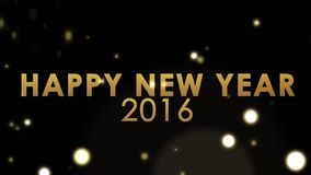 Golden explosion sparkling on black background, holiday new year celebration happy new year 2016 stock footage