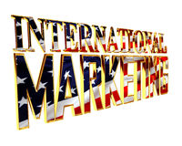 Golden extensive international marketing text on a white background Stock Photos