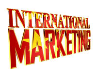 Golden extensive international marketing text on a white background Stock Images