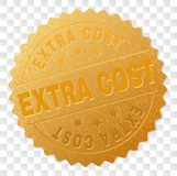 Golden EXTRA COST Badge Stamp. EXTRA COST gold stamp badge. Vector gold medal of EXTRA COST text. Text labels are placed between parallel lines and on circle stock illustration