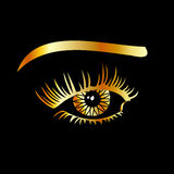Golden eye with eyebrow Royalty Free Stock Image