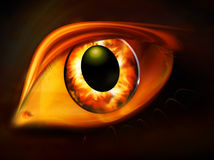 Golden eye. Illustration of a golden eye created out of flames Stock Photo