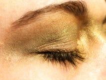 Golden eye make-up Stock Photo