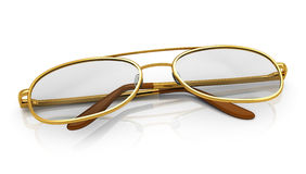 Golden eyeglasses Royalty Free Stock Photography
