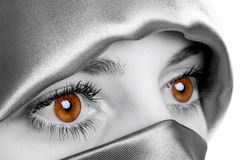 Golden Eyes. Abstract image of a woman wearing a headscarf which has been digitally enhamced to highlight her eyes, this is the natural colour of the models eyes Stock Photos