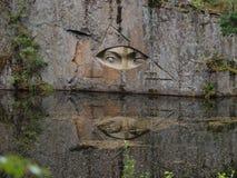 The golden eyes. Near Lipnice nad Sazavou, Czech, mirroring in water stock photo