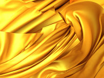 Golden fabric background. Flying silk cloth Stock Photo