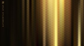 Golden fabric with smooth crease and folds highlight deep shadows on black background with hexagons pattern texture. Vector royalty free illustration