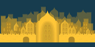 Golden fabulous city. Buildings, towers, castles Royalty Free Stock Photography