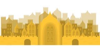 Golden fabulous city. Buildings, towers, castles Stock Photos
