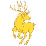 Golden fabulous deer - a symbol of good luck. Stock Image