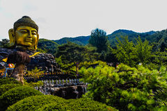 Golden Face of the Buddha Image under White Cloudy Sky. And Green Tree at Waujeongsa Temple, South Korea Royalty Free Stock Photography