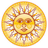 Golden face. Cartooned yellow sunny circular face vector illustration