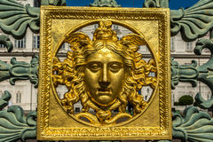 Golden face at Royal Square Torino Stock Photo