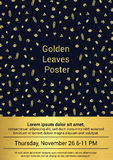 Golden Fall Poster. Vector illustration of fall poster or card decorated with golden leaves pattern Royalty Free Stock Photo