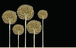 Golden fall trees forest concept illustration. Gold fall concept trees with golden autumn leaves forest illustration background. EPS10 vector Stock Images