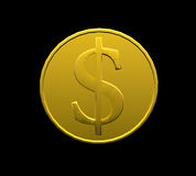 Golden falling coins on black background Royalty Free Stock Images